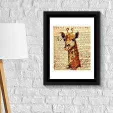 fa2110 framed art 2in1 giraffe newspaper animal poster