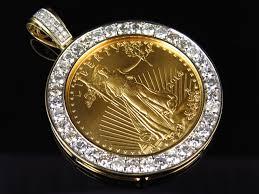 24 k solid yellow gold lady liberty half 1 2 ounce custom diamond pendant 3 5 ct
