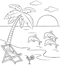 Here is a small collection of free dolphin coloring pages to print out for your kids, highlighting different species of. Printable Beach And Dolphins Coloring Page For Both Aldults And Kids