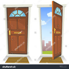 open house door. Cartoon Red Door, Open And Closed/ Illustration Of A Front Door Opened House
