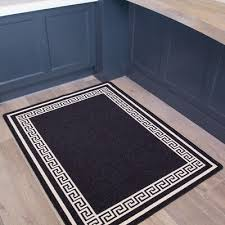 details about black non slip border small runner mats easy clean machine washable kitchen rugs