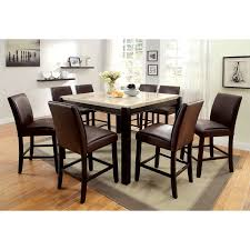 walnut cherry dining: steve silver marseille  piece marble top counter height dining table set dark cherry dining table sets at hayneedle
