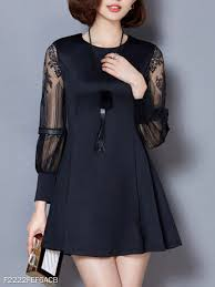 Berrylook Size Chart Round Neck Patchwork Lace Shift Dress Berrylook Fashion