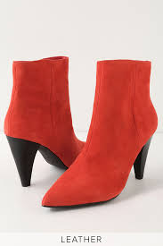 henry red suede leather high heel ankle booties