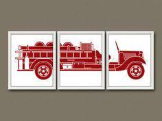 FIRE TRUCK <b>Wall Art</b>, Fire Truck Nursery Decor <b>Canvas</b> or Print, Big ...