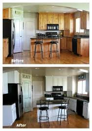 white painted kitchen cabinet reveal with before and after photos and