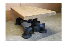 vintage industrial coffee table cast iron pipe legs and reclaimed timber top photo 1