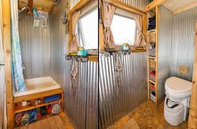 galvanized walls tiny house bathroom