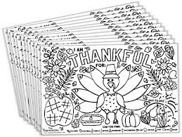 Serve smiles this thanksgiving season with these fun thanksgiving printables, coloring pages, activities, and decorations for the entire family. Amazon Com Tiny Expressions Fall Thanksgiving Placemats For Kids Pack Of 12 Turkey Placemats Coloring Activity Paper Table Mats For Children To Write Thankful List Disposable Bulk Bundle Set Kitchen Dining