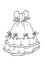 Dress With Bows Coloring Page For Girls Printable Free Coloring