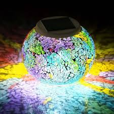 multi color outdoor solar jar design. Outdoor Solar Ball Lights Waterproof Powered Mosaic Glass LED Garden Colors Changing Party Multi Color Jar Design