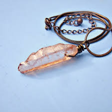 wire wrapped pink druzy quartz crystal pendant on rustic copper snake chain necklace saturn
