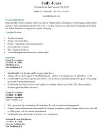 20 Free Event Coordinator Resume Samples Sample Resumes