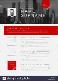 Vector Minimalist Black White And Red Cv Resume Template Design
