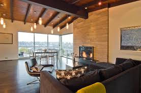 awesome mid century modern living room design with fireplace and cool ceiling design ideas