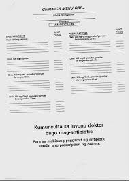 Pharmacy Generics Menu Cards