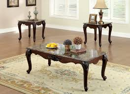 colchester 3pcs set tables coffee table 2 end tables dark cherry finish