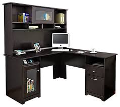 bush cabot l shape computer desk with hutch in espresso oak transitional desks