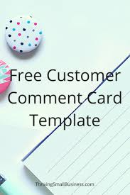 Restaurant Survey Cards Free Customer Comment Card Template