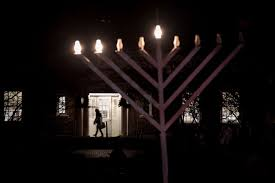 outside the library in haddonfield n j on the second night of hanukkah december 3