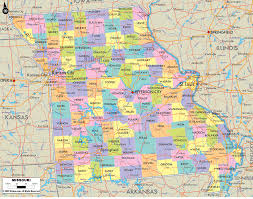 missouri  map of missouri and missouri counties and road details