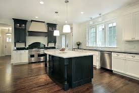white and espresso kitchen cabinets large kitchen with black island and mix of black and white