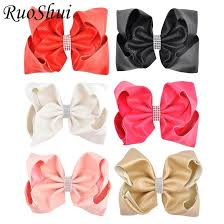 8 inch big large leather hair bow rhinestone solid ribbon hairgrips with alligator clips headwear bowknot girls hair accessories