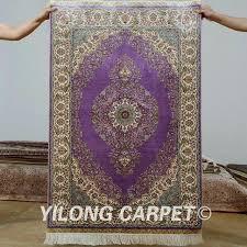 antique handmade silk area purple carpet hand knotted oriental rug and blue persian purple rug