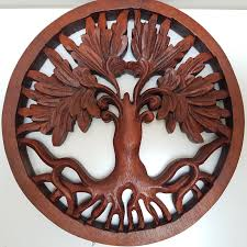 Floral wall art that will add beauty to any room. Tree Of Life Wood Carved Wall Art Boho Hippy Chic Hanging Panel Carving Bl Bali Tropical Scene