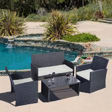 black wicker outdoor furniture sets  pc rattan patio furniture set garden lawn sofa black wicker cushioned