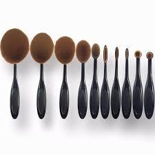 10pcsprofessional tooth brush set for make up oval makeup brushes multi purpose foundation powder eyeshadow blush
