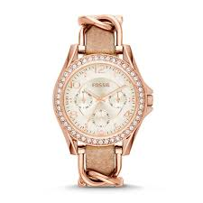 fossil women riley multifunction rose tone sand leather watch thumbnail 0
