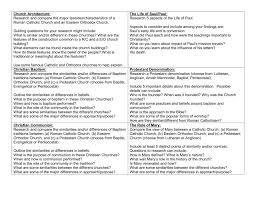 Differences Between Denominations Chart Informational Poster Topics
