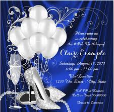 elegant blue and silver 80th birthday invitations are perfect for a dance party or formal occasion