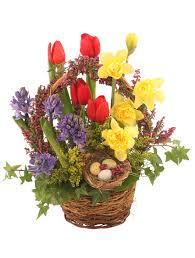 it s finally spring basket arrangement