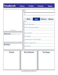 blank facebook page worksheet. And Blank Facebook Page Worksheet