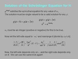 solution of the schrödinger equation for h