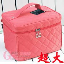 seam line grid large capacity portable cosmetic bag makeup bag make up kit cosmetics case foldable