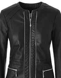 black scuba faux leather jacket black hi res