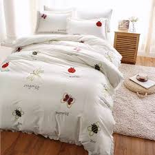 bedding set queen king size duvet cover 100 egyptian cotton bed sheet garden fl erfly embroidered