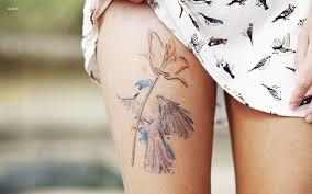 Bird Flower Leg Tattoo