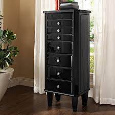 armoires powell black glass high gloss free standing jewelry armoire