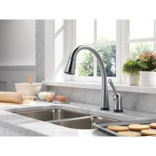 Best On Kitchen Faucets Delta Faucet 980t Dst Pilar Polished Chrome Pullout Spray Kitchen