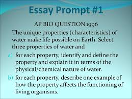 essay prompt ap bio question the unique properties  1 essay