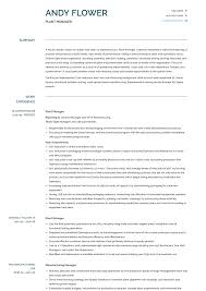 Production Manager Resumes Plant Manager Resume Samples And Templates Visualcv