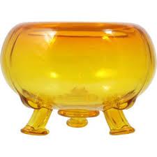 viking art glass flowerlite yellow amberina vintage mid century
