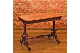Victorian Burr Walnut Fold Over Card Table C 1840 Vinterior
