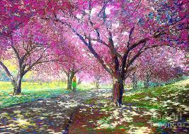 cherry painting spring rhapsody happiness and cherry blossom trees by jane small
