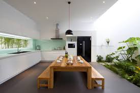 One Room Living Space Urban Vietnamese House Garden Kitchen Dining And Living Space