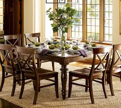 lovely design of the dining room table decor with brown oak wooden materilas added with grey